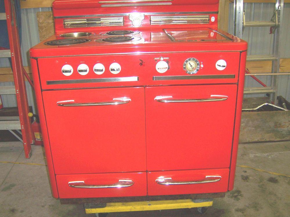 Vintage Red Monarch Red Electric Stove Range 1940 S 1950 S Oven Burner Retro Kitchen Stoves Range Oven Burner