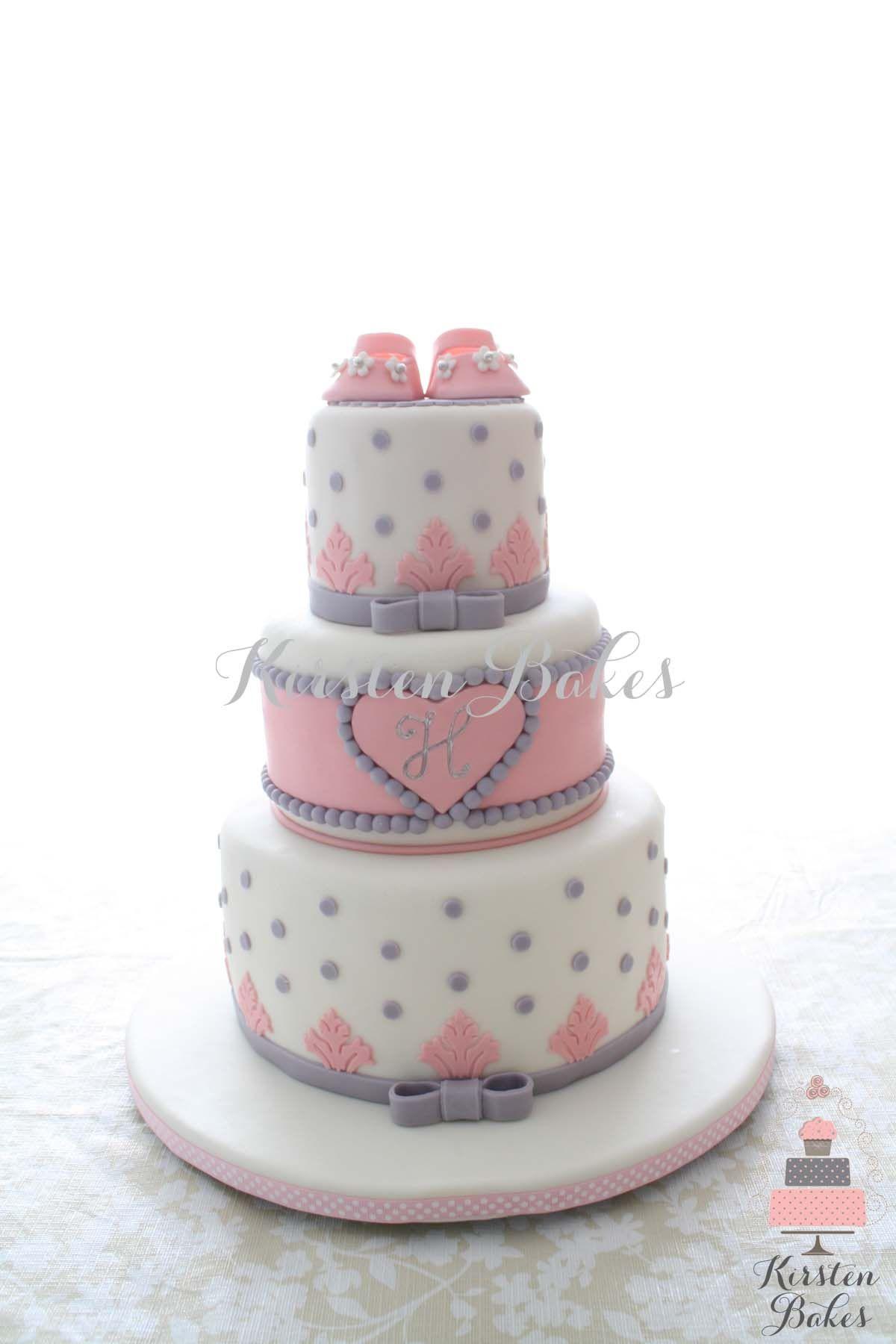 Baby Shower Cake Baby Girl Shoes Monogram Pink Grey White