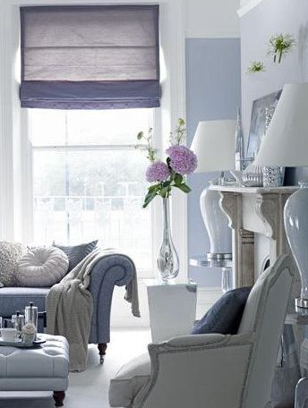 Soft purple and white living room with a little pale gray ...