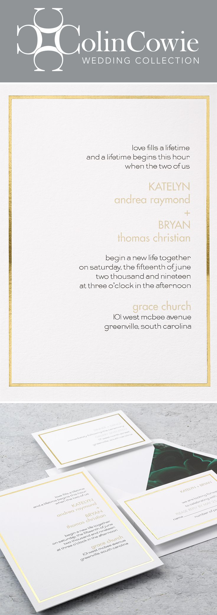 Gold lining invitation contemporary style wedding and wedding