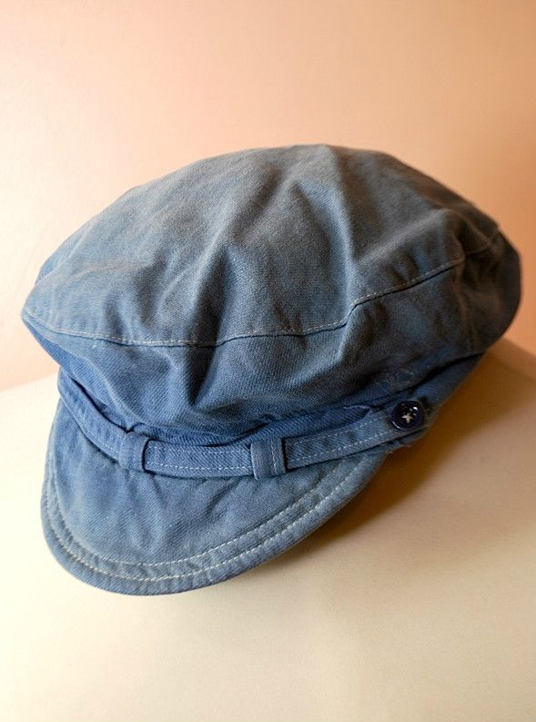 VTG 1940s FRENCH CHORE WORKWEAR BLUE COTTON FLAT CAP NEWSBOY HAT.work.breton   59c979d6d566