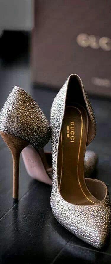 3ebd1989008 So sparkly! Gucci heels via  ༺ℬ༻ Nancy Barnard ༺ℬ༻.  Gucci  heels