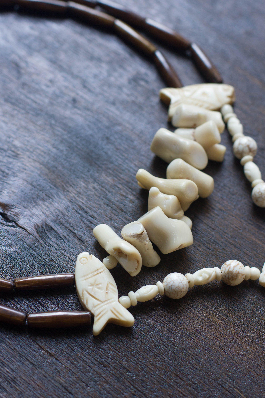 First Nation Jewelry Native America Powwow Regalia Tribal Necklace with Carved Bone