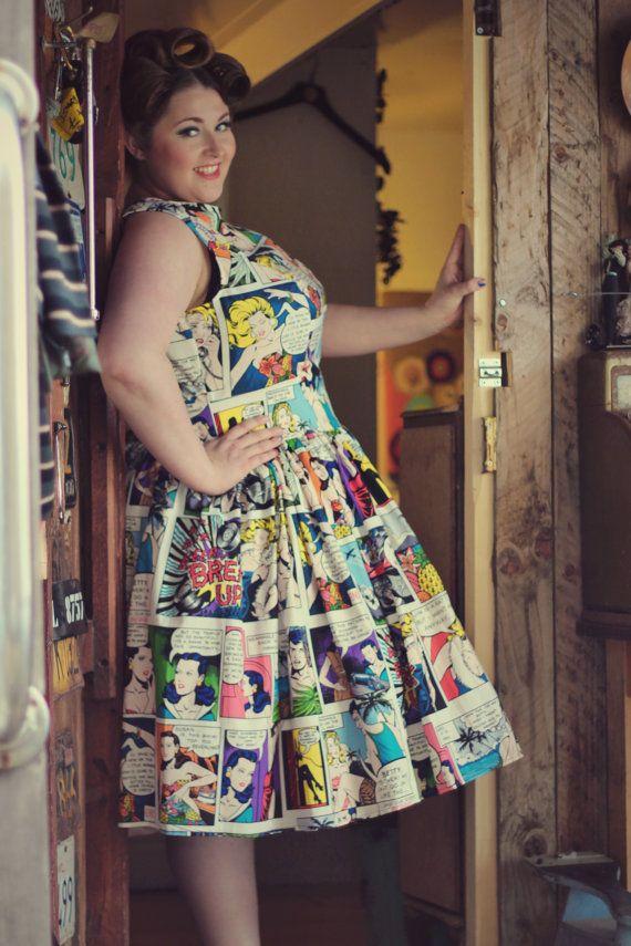 Plus Size 1950s Style Cartoon Dress Uk 1828 By Sillyoldseadog I