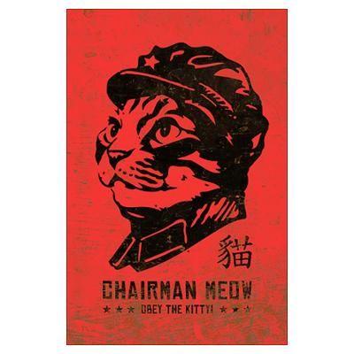 Chairman meow large cat propaganda poster