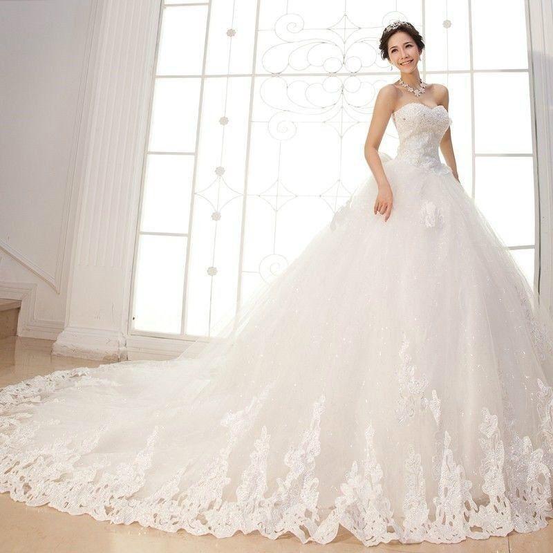 New White / Ivory Wedding Dress Bridal Gown Custom Size 6 8 10 12 14 ...