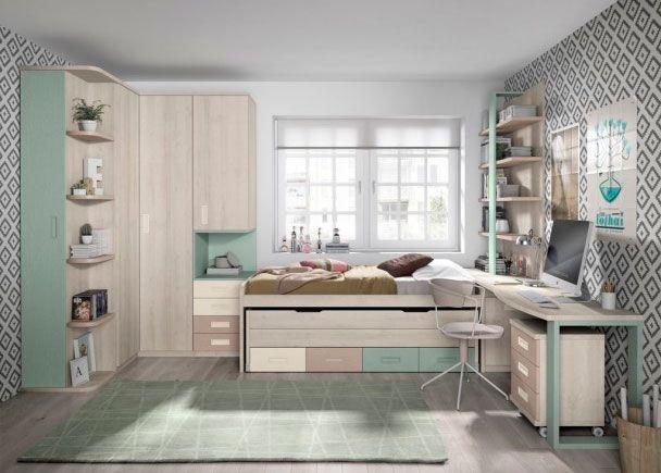 Habitaci n juvenil con armario rinc n escritorio y dos - Habitacion pequena dos camas ...