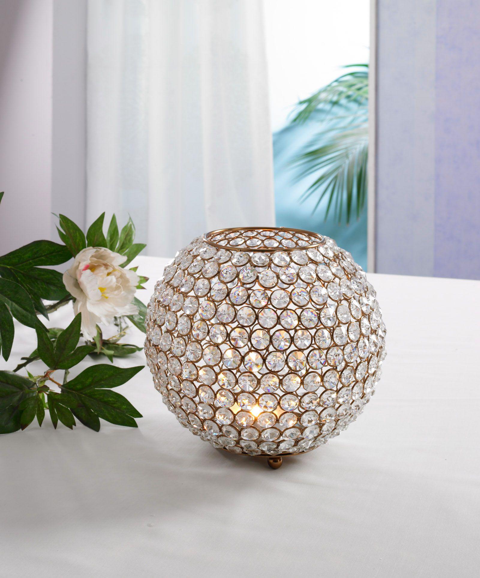 Kristallkugel Teelicht Kerzen Leuchter Kerzenständer Kerzenleuchter Kerzenhalter
