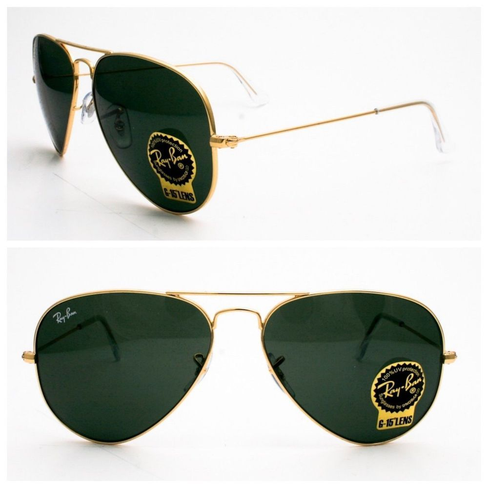 030405319bb68 %%Ray-Ban Aviator Sunglasses unisex Crystal Green   Gold RB 3025 L0205 58  mm New  fashion  clothing  shoes  accessories  unisexclothingshoesaccs ...
