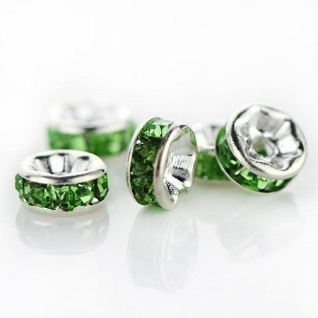 '(100) Rondelle Spacer Beads (8mm) - Green+Crystal Clear' is going up for auction at 12pm Fri, Feb 8 with a starting bid of $5.