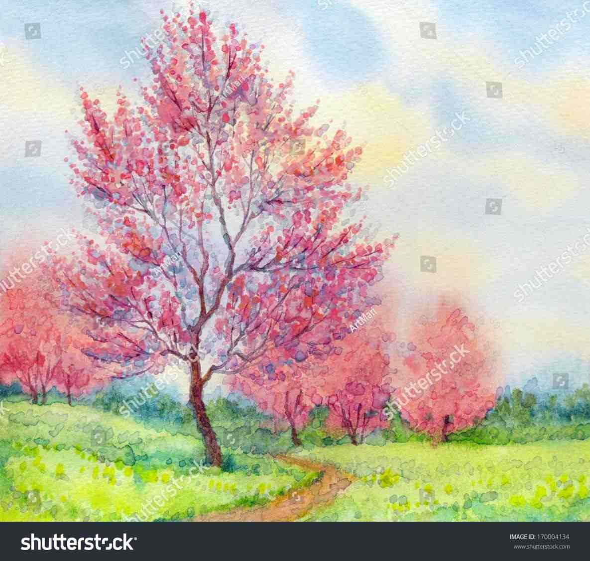 40 Easy Watercolor Painting Spring Landscape Watercolor Art Landscape Watercolor Trees