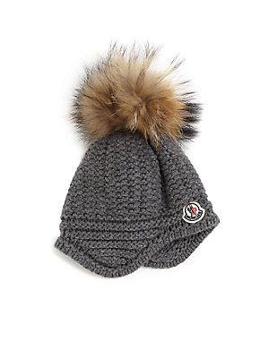 Moncler Toddler s   Little Girl s Fur Pom-Pom Hat  4b1c88450faf