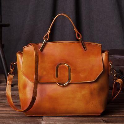 Handcrafted Women Fashion Leather Handbag Messenger Satchel in Shiny Brown C205 - LISABAG