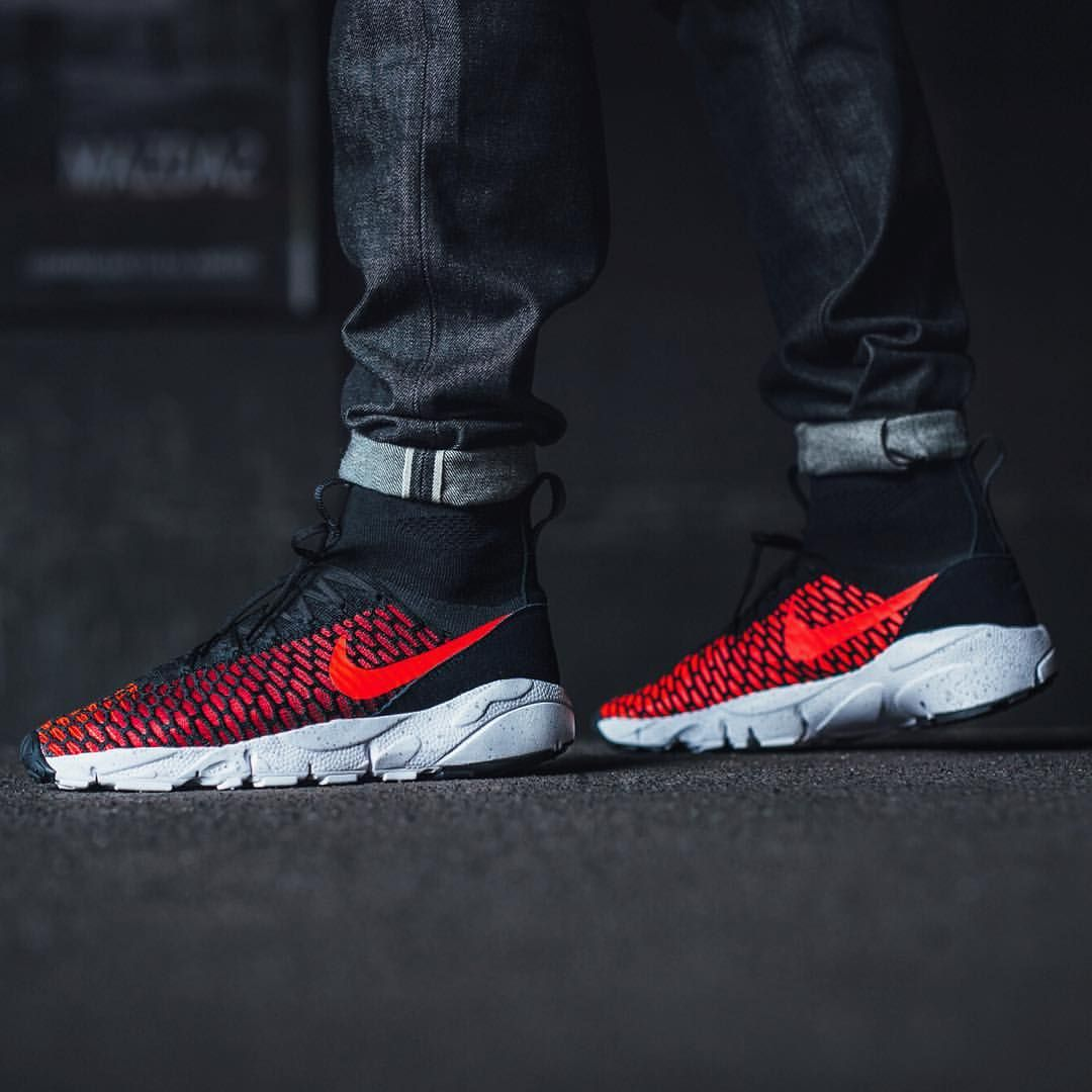 low priced 513fb c220c Nike Air Footscape Magista Flyknit  Black Bright Crimson