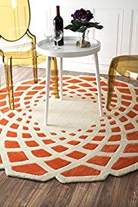 Nuloom Cine Collection Lumi Contemporary Hand Made Round Area Rug 8 Feet Orange Contemporary Rugs Area Rugs