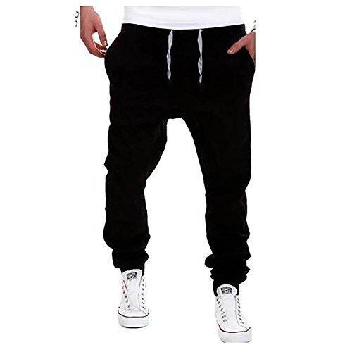 VICVIK Men's Fashion Outdoor Elastic Waistband Casual Jogger Pants Trousers (XL Black)