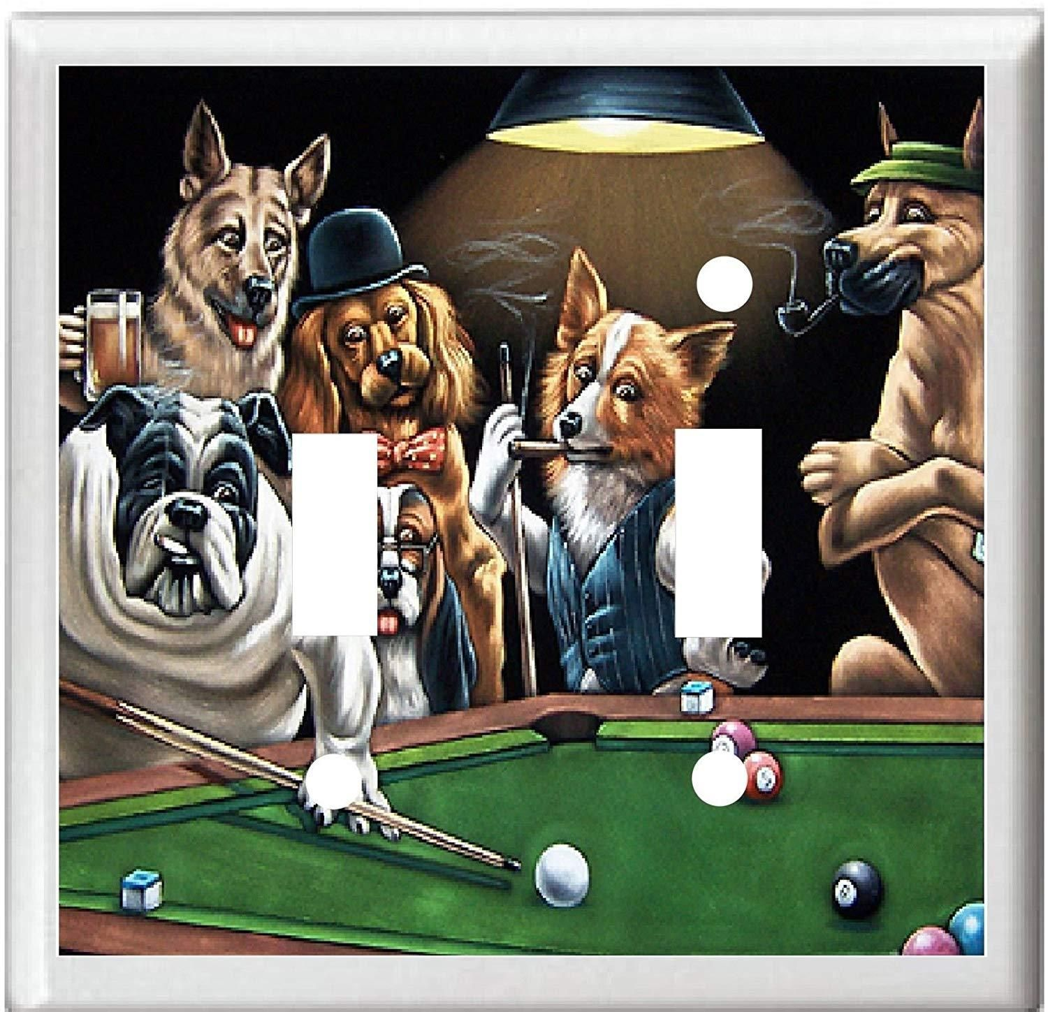 Billard Oldenburg Bb Dogs Playing Pool Billiards Game Room Decor Light Switch Or