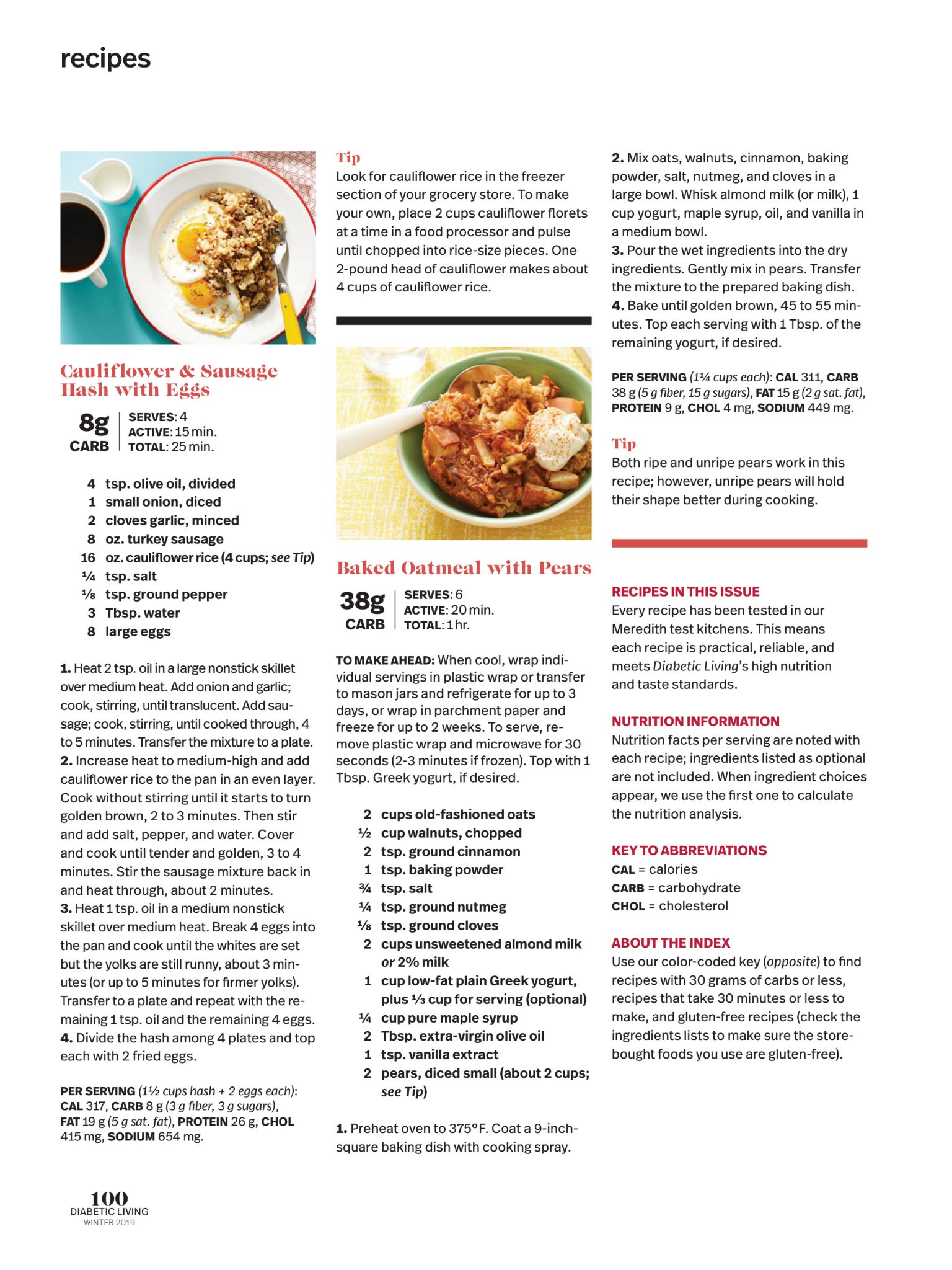 Recipes From Diabetic Living Magazine Winter 2018 Read It