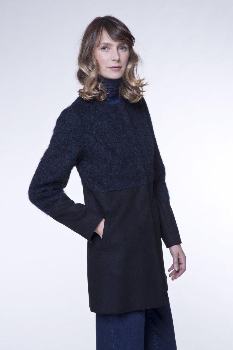 Manteau drap de laine noir femme