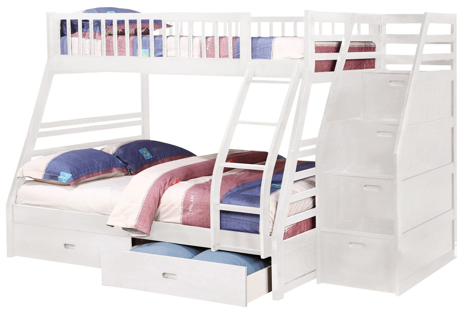 White Twin over Full Bunk Bed with Storage Drawers and