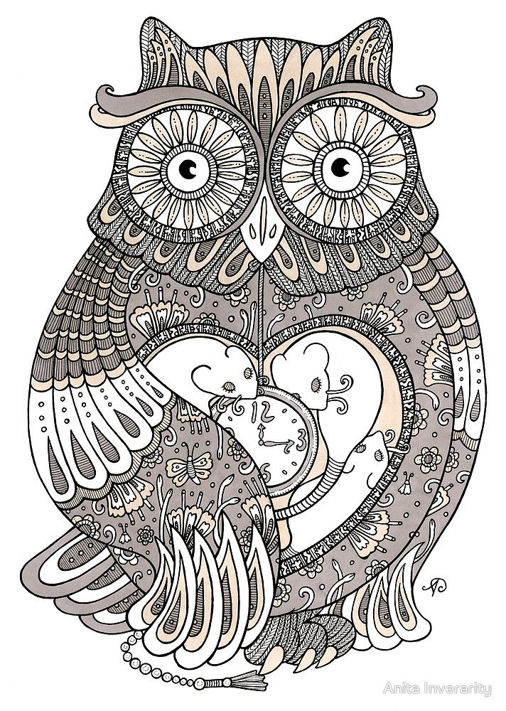The Timely Owl By Anita Inverarity Owl Coloring Pages Printable Adult Coloring Pages Free Adult Coloring Pages