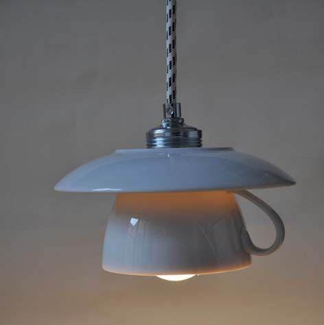 Hängelampen - 2er-Tassenlampe -groß- mit Wunschkabelfarbe - ein Designerstück von Der-Lampenladen bei DaWanda