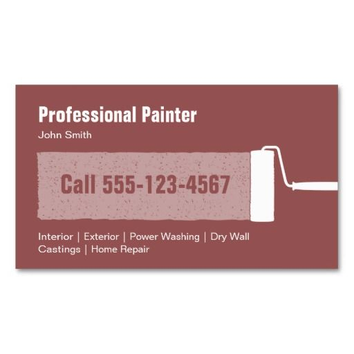 Customized Professional Painter Business Card Template Elegant Modern Painting Contractor Cards With Paint Roller