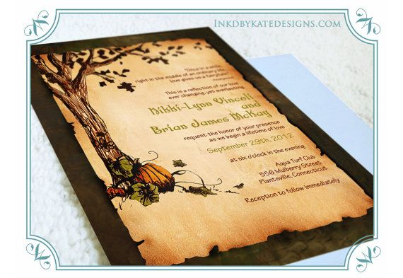 """Vintage Autumn Pumpkins  Wedding Invitation DEPOSIT by inkdbykate""    This is a really nice layout for an invitation, I adore the picture of the tree and the pumpkin, I think they'd look great on the edge of stationery. :D"
