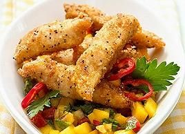 Baked Chicken Strips with Mango Salad Recipe - http://sportsproductmart.com/baked-chicken-strips-with-mango-salad-recipe/