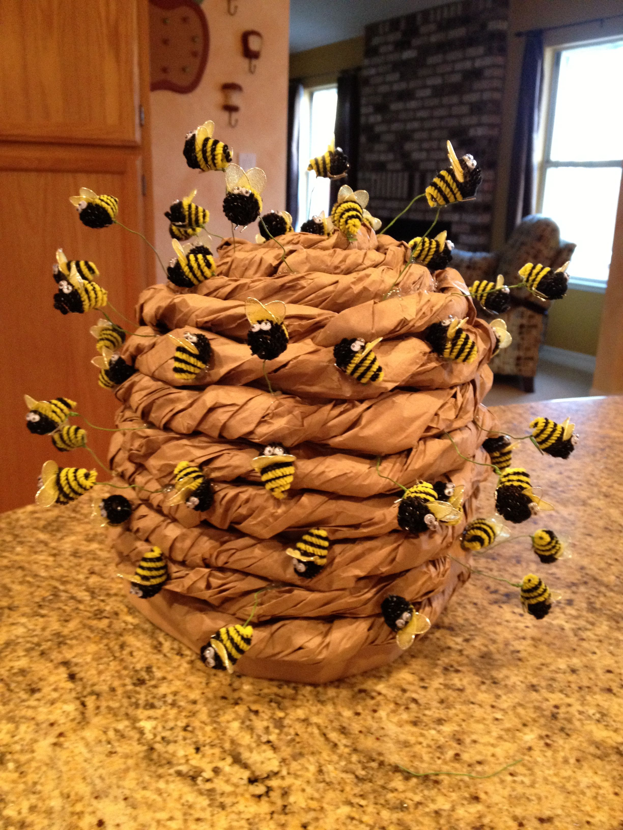helped my buddy make this bee hive hat preescool pinterest bees craft and sinterklaas. Black Bedroom Furniture Sets. Home Design Ideas
