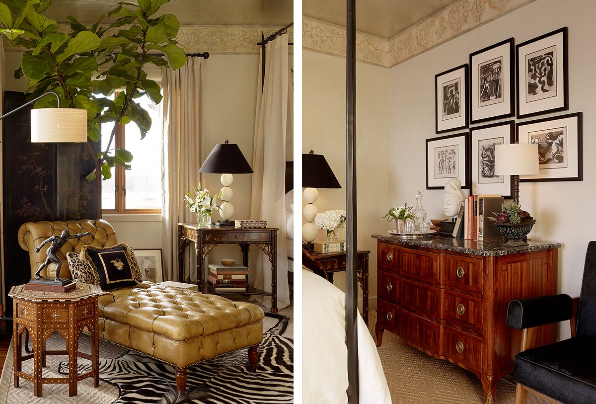 leather tufted chaise and gallery wall in bedroom Home