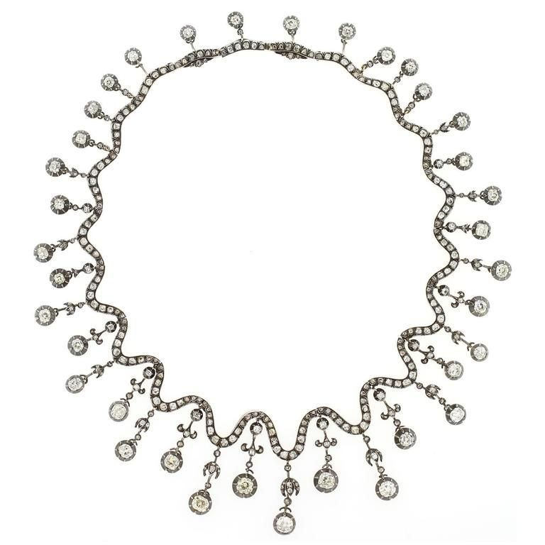 1850s French Old European Cut Diamonds Silver Gold Necklace For Sale at 1stdibs