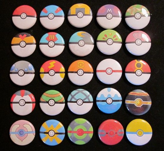 1 inch Button set of all 26 Pokeballs by Rosewine on Etsy, $26.00