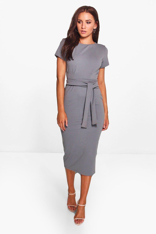 f2b27a32cd53 Pleat Front Belted Tailored Midi Dress | Fashion | Dresses, Fashion ...