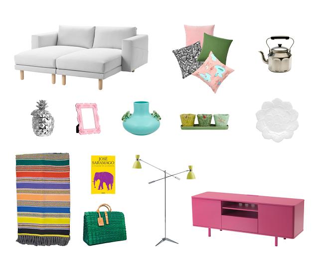 IKEA sofa and pink sideboard, Bordallo Pinheiro jars and plate, Toino Abel basket, portuguese alentejo blanket and José Saramago book.