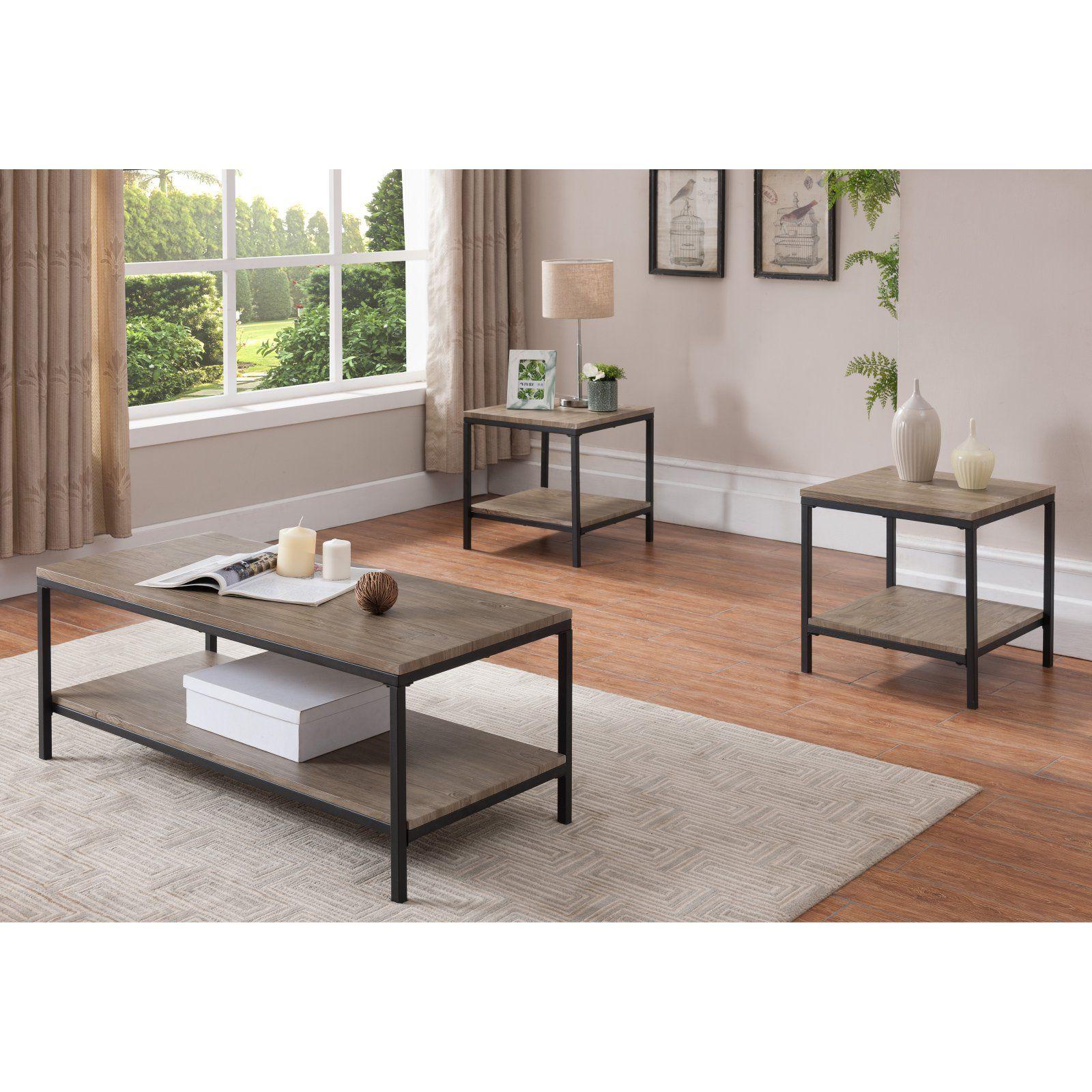 K B Furniture T1166 Wood Metal 3 Piece Coffee Table Set 3 Piece