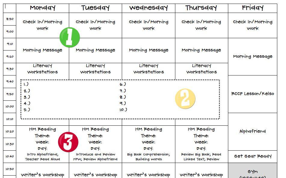 Schedule for teacher's plan book