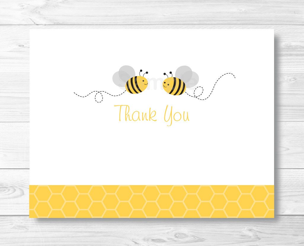 Bee Baby Thank You Card Bee Baby Shower Yellow Gray Gender Etsy Baby Shower Thank You Cards Bee Invitations Bee Baby Shower Invitations
