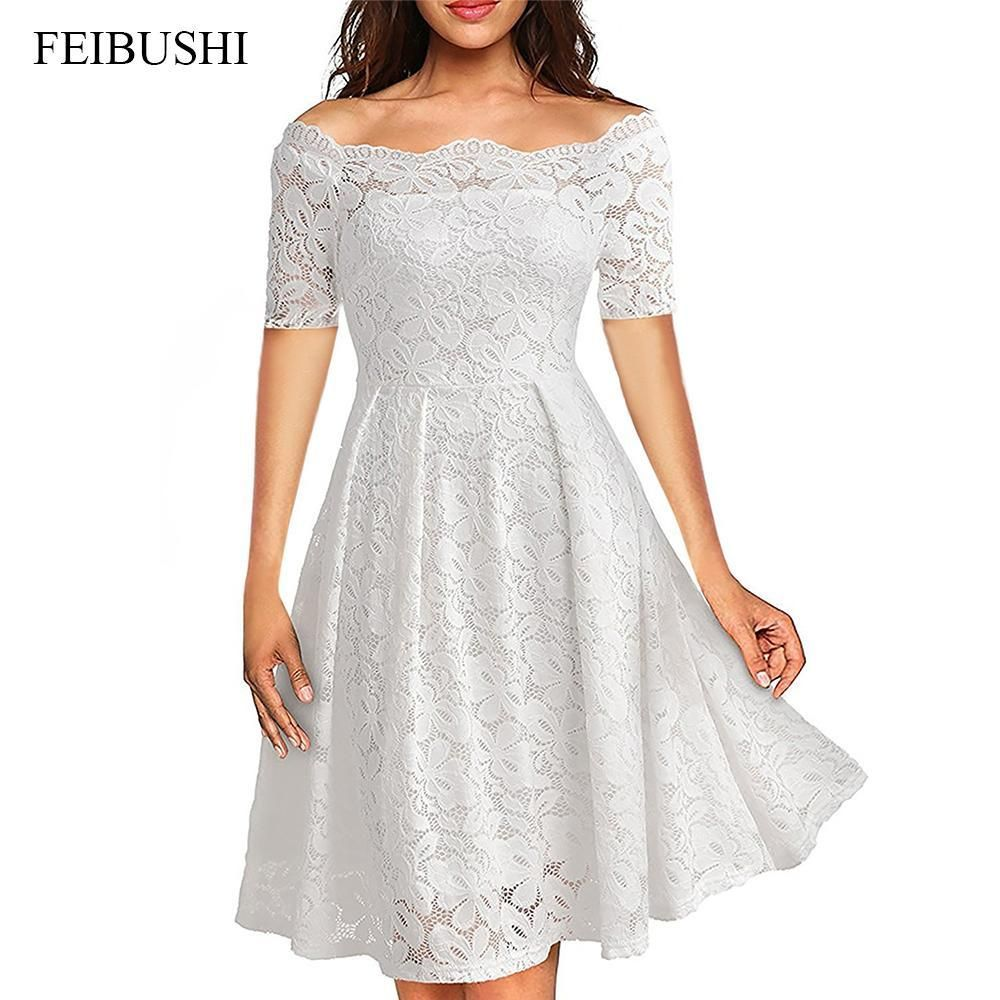 566efd0685da FEIBUSHI 2017 Summer Embroidery Sexy Women Lace Off Shoulder Dresses Short Sleeve  Casual Evening Party A Line Formal Dress