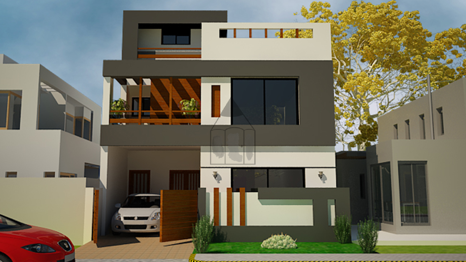 5 marla house front design this is a standard 5 marla house front design with the complete layout plan as it has 3 bedrooms with 3 attached bathrooms and