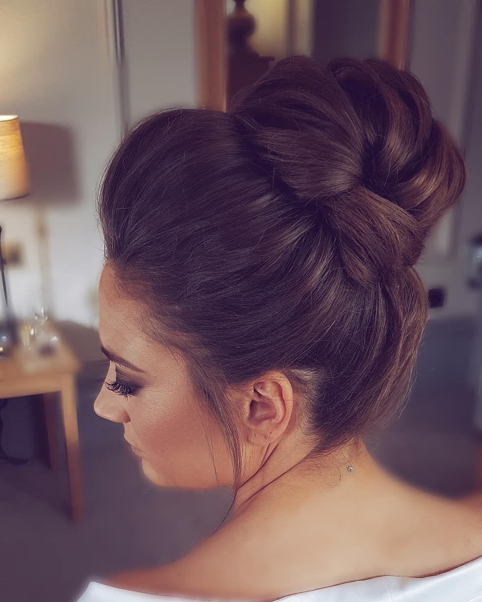 Hair By Hannah Taylor On Instagram I Love This Simple But Elegant High Bun On Yesterdays Bride Swipe To See Bridal Hair Buns Wedding Hair Half Hair Styles