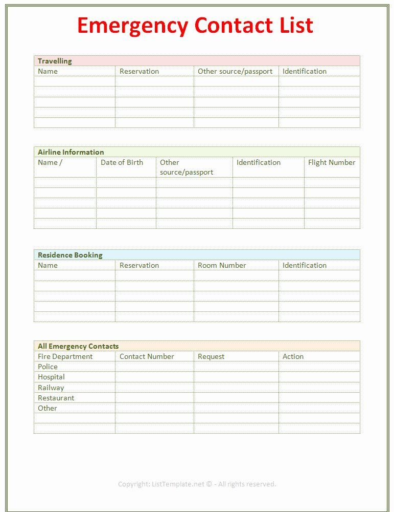 Emergency Contact Form Template Beautiful 7 Best Of Printable Emergency Contact List Emergency Contact List Emergency Contact Form Emergency Contact