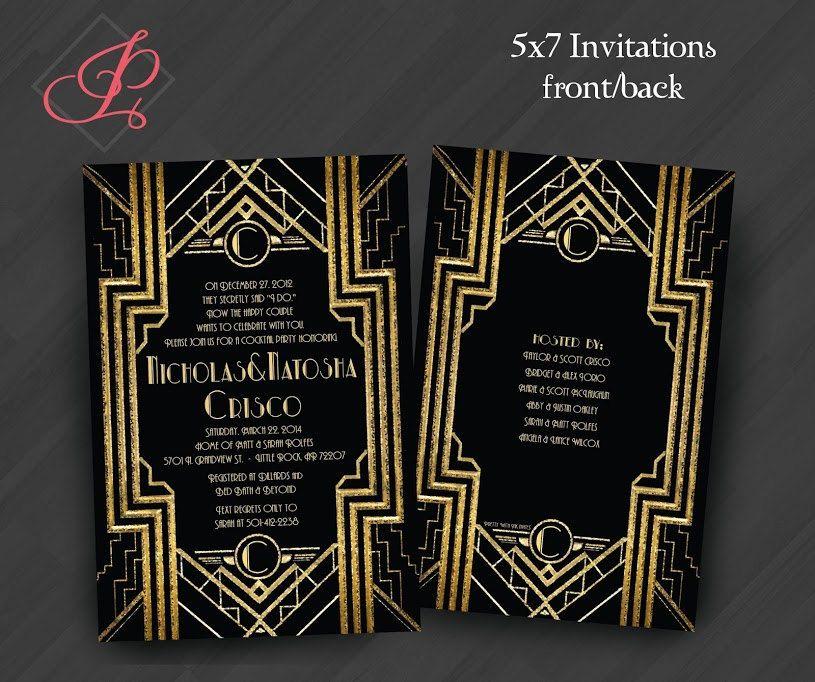 Birthday Invitations: Gatsby, Roaring 20s, Gold, White, & Black ...