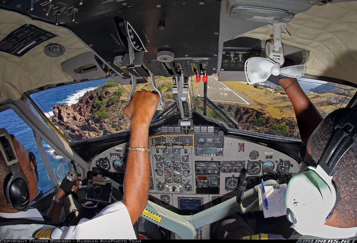 Inside the cockpit of a WinAir DHC 6 300