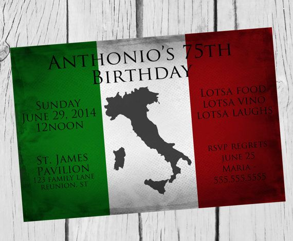 Birthday party invitation print your own personalized for Italian bridal shower invitations