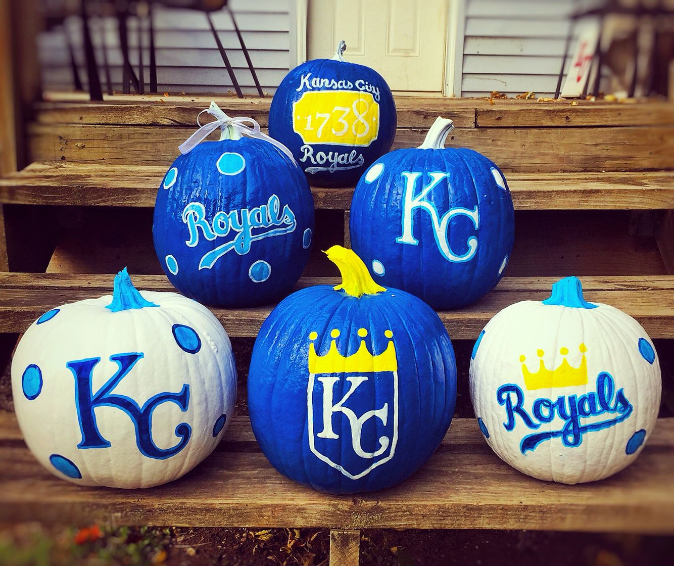 It's a Blue October in KC! Kansas City Royals pumpkins! #royals #webelieve #royals