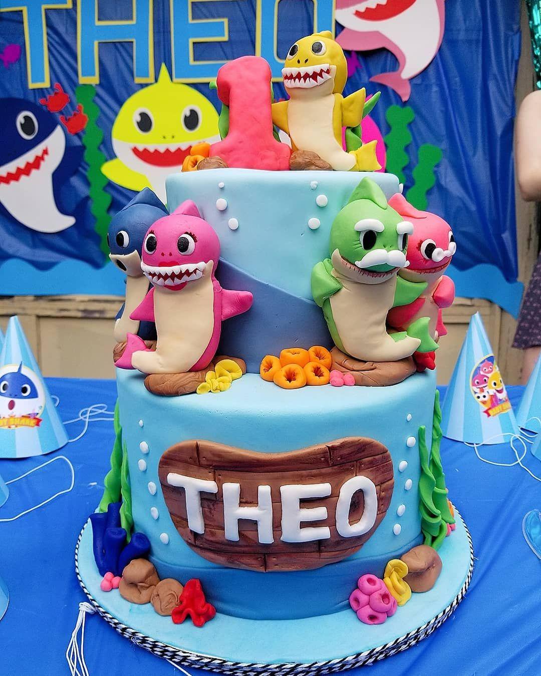 Baby Shark Birthday Cake. First Birthday cake.