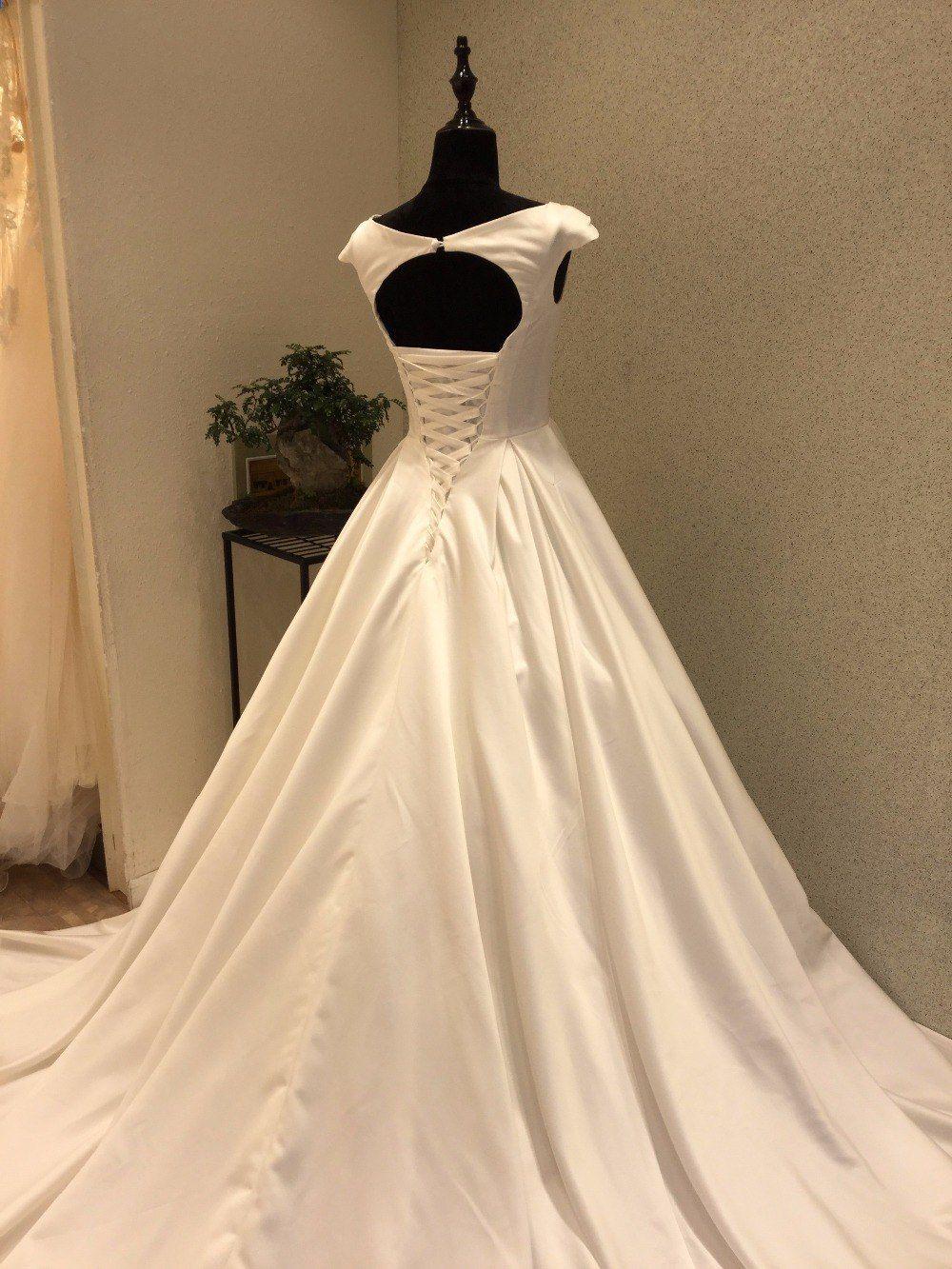 Fashionable cheap wedding dress open corset back satin bride
