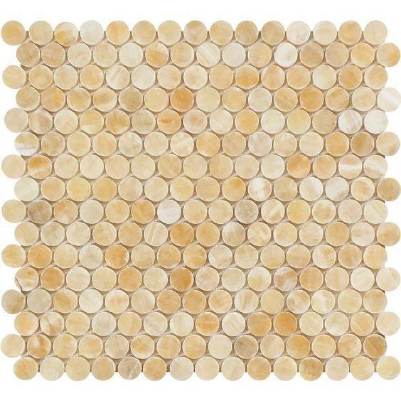 honey onyx polished penny round mosaic tile honey onyx mosaic rh pinterest com