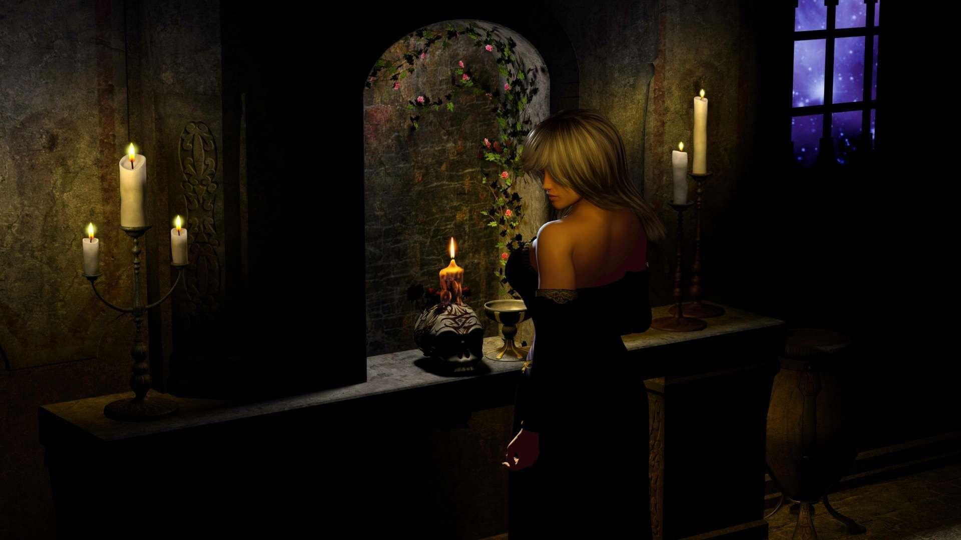 Girl Window Stars Night Flowers Candles Skull Gothic Hd Wallpaper
